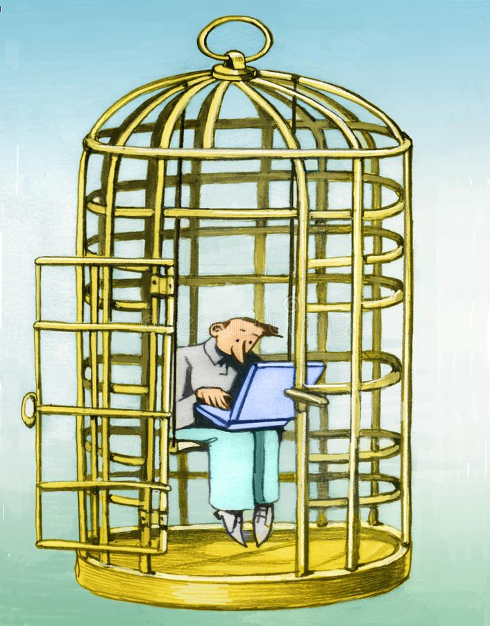 Stag i förströdd bur royaltyfri illustrationer