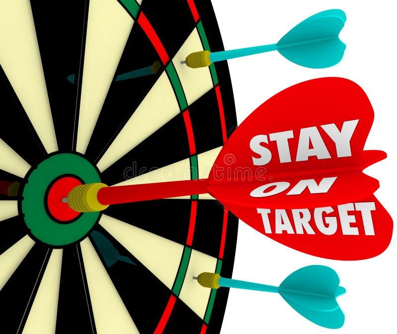 Stag på den uppnådda beskickningen för mål för fokus för bräde för målordpil vektor illustrationer