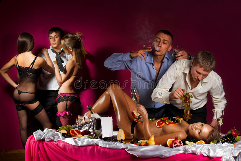 Stag party. Guys having fun with women royalty free stock photo