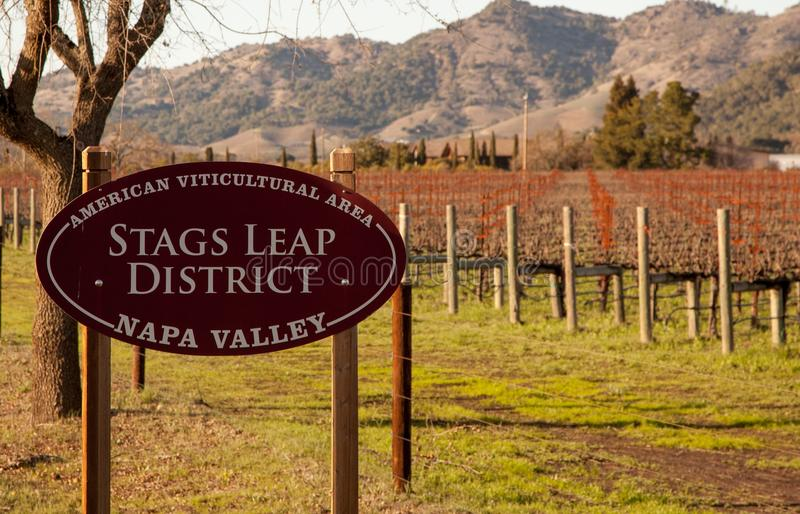 Stag's Leap AVA appelation. A Napa Valley sign for the first of 16 Napa AVA district or appelations. Stag's Leap includes loam, clay and volcanic soils and is stock photos
