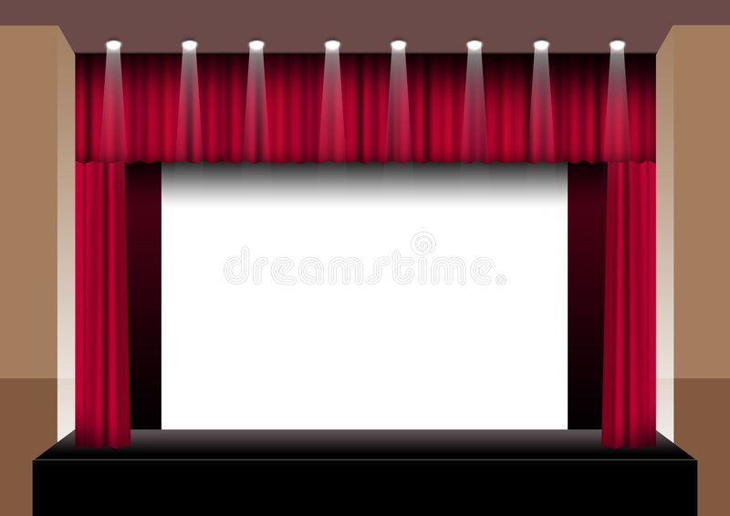 Stage. Red curtains open auditorium with lights