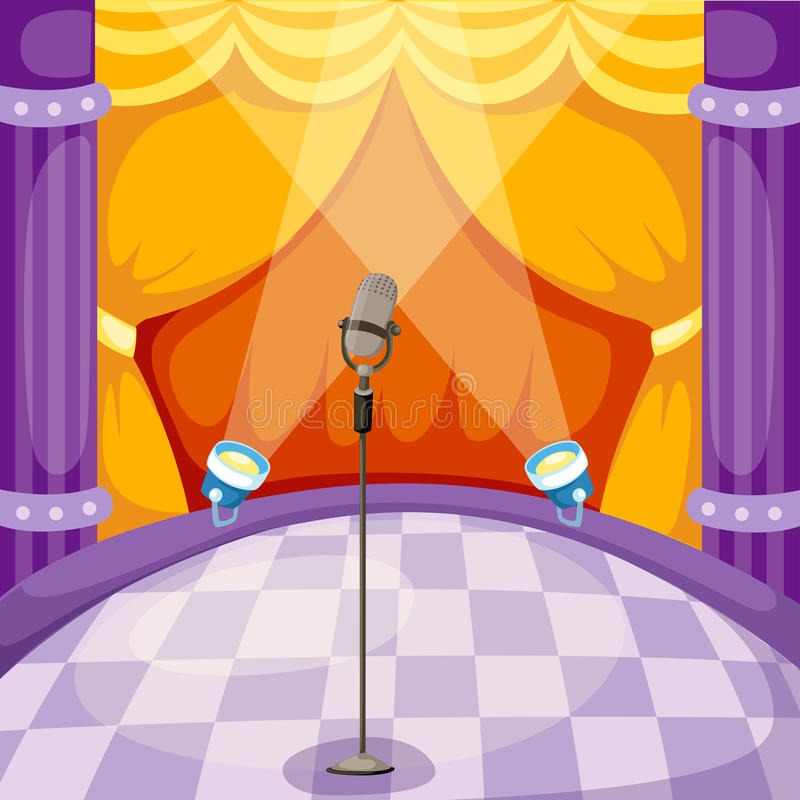 Stage. Illustration of curtain and microphone on a stage vector illustration