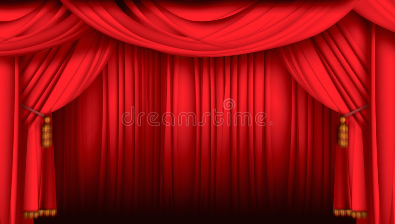 Stage. Red velvet stage theater curtains