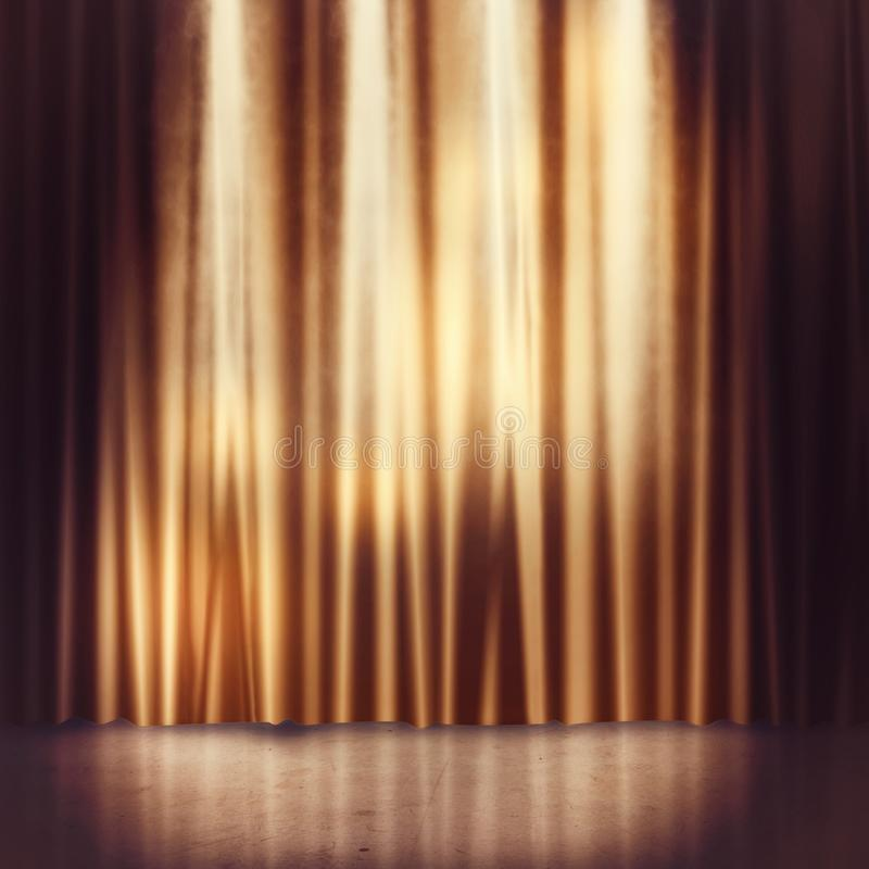 Stage background. Background of golden curtains of a stage stock illustration