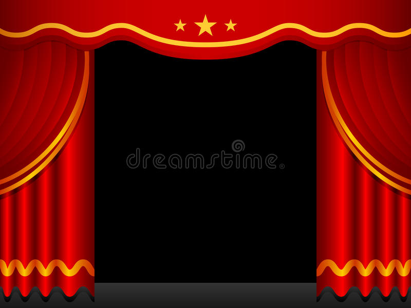 Stage Background With Red Curtains royalty free illustration