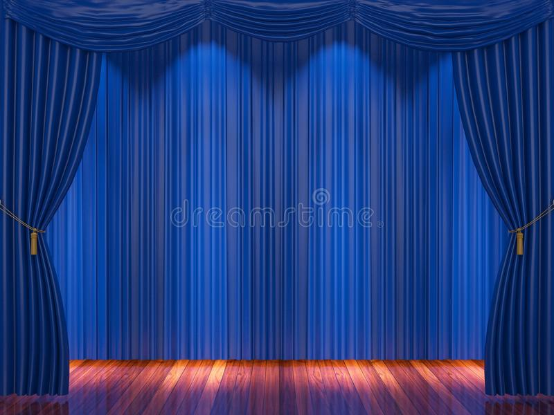 Stage with blue curtains and spotlight. royalty free illustration