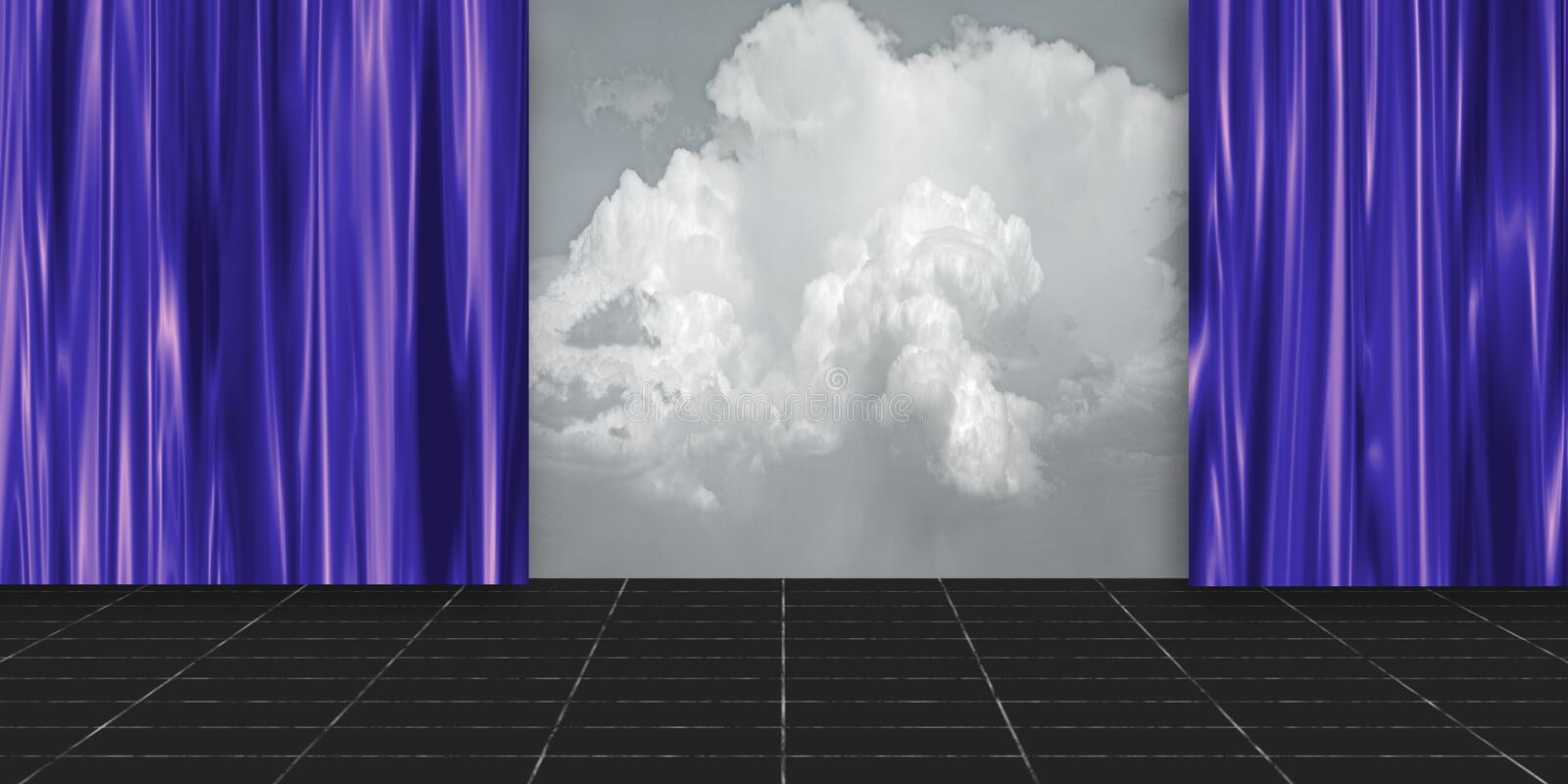 Stage with clouds royalty free illustration