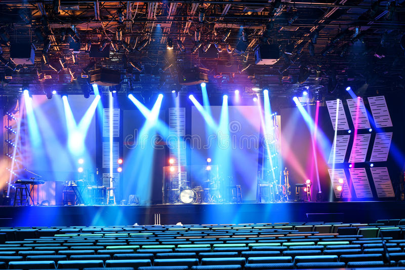 Download Stage With Colored Lighting Stock Photo - Image of indoors, bright: 91723544