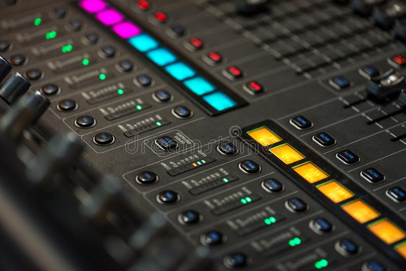 Stage controller with sliders royalty free stock photo