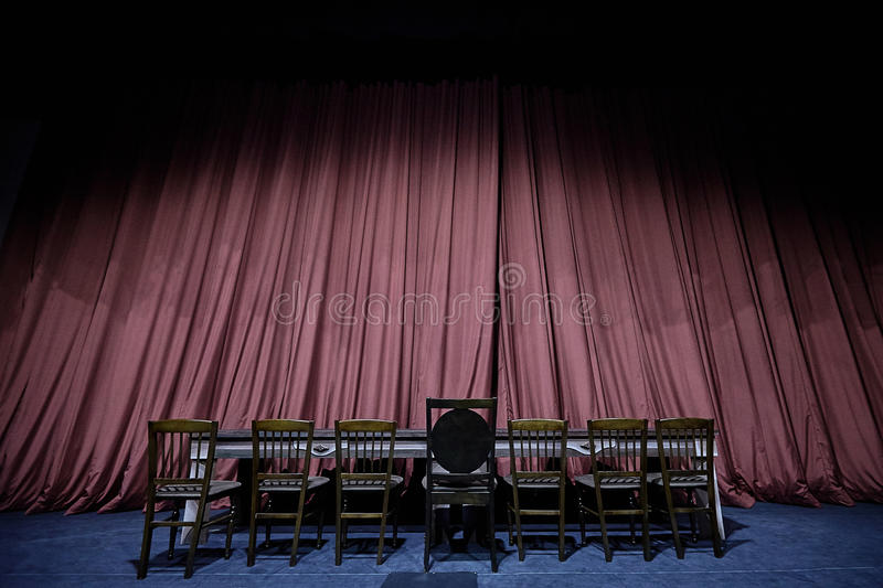 Stage Curtain with Seats on Theater, Opera or Cinema Scene stock photography