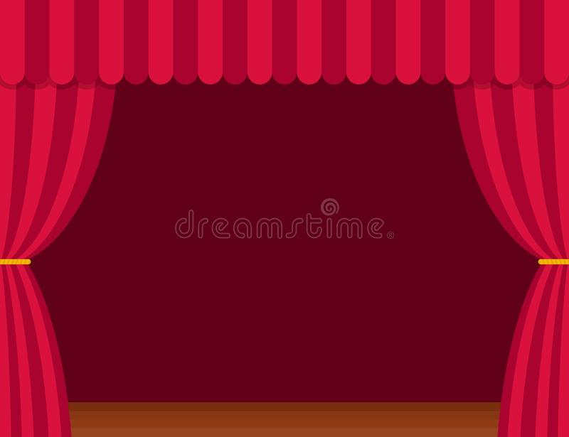Stage curtains with brown wooden floor in flat style. Theater. vector illustration