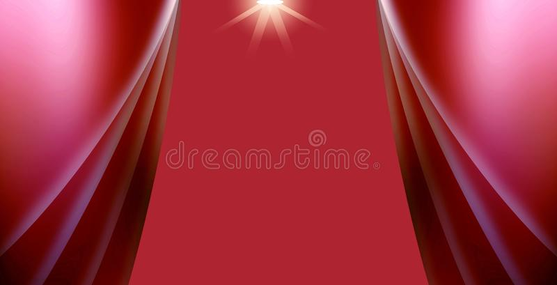 Stage and curtains in red with spot lights stock images