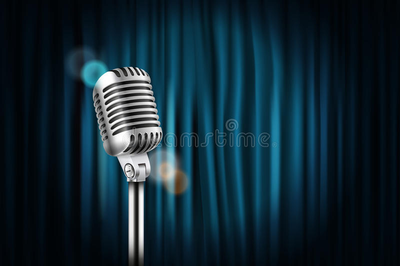 Stage curtains with shining microphone royalty free illustration