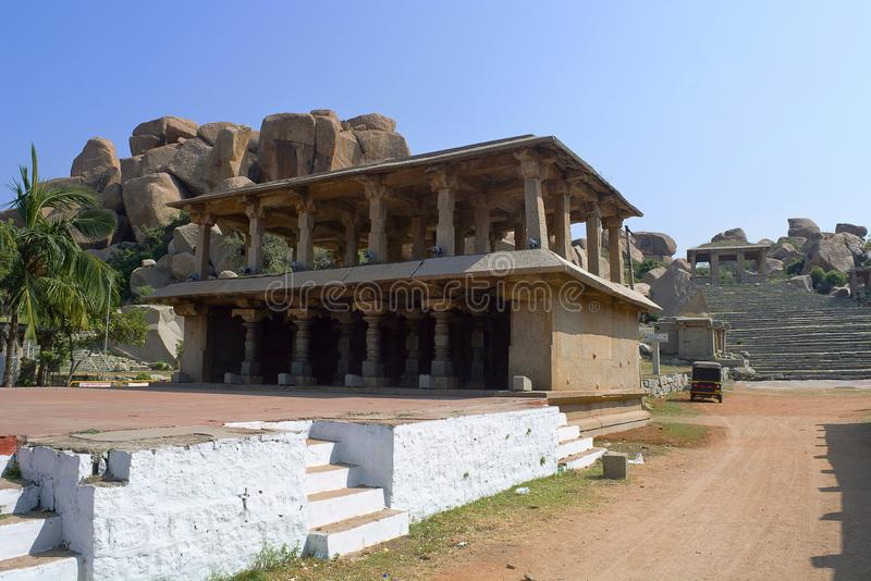 Stage For cutural programs. Hampi, Karnataka. India stock images