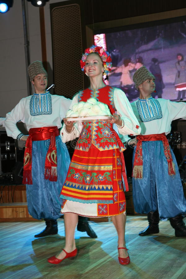 On stage are dancers and singers, actors, chorus members, dancers of the corps de ballet and soloists of the Cossack ensemble. Non stage are dancers and singers stock photo