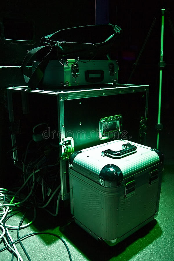 Stage equipment. Deejays travel cases and stage commutation royalty free stock photos