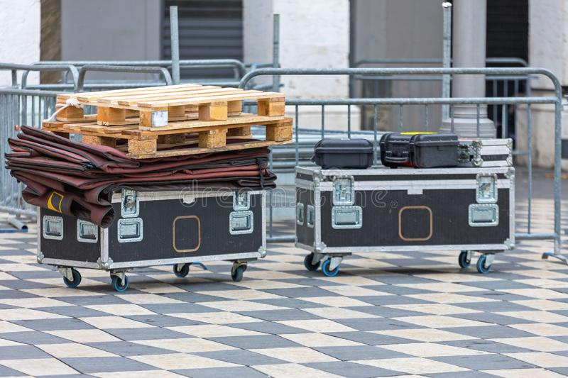 Wheeled Rack Cases. Stage Equipment Packed in Rack Case Wheeled Boxes stock photography