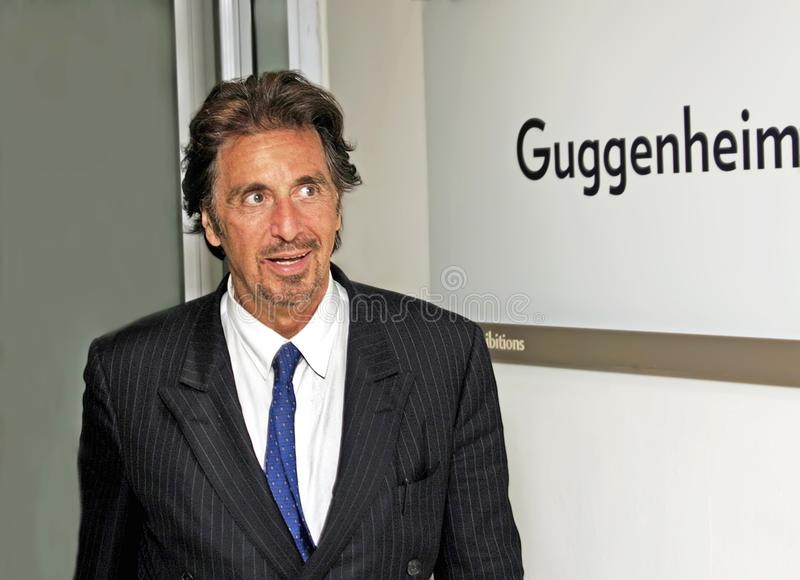 Al Pacino. Stage and film actor Al Pacino arrives in a fashionably dapper manner, appropriate attire for an event at the Guggenheim Museum in Manhattan honoring royalty free stock photo