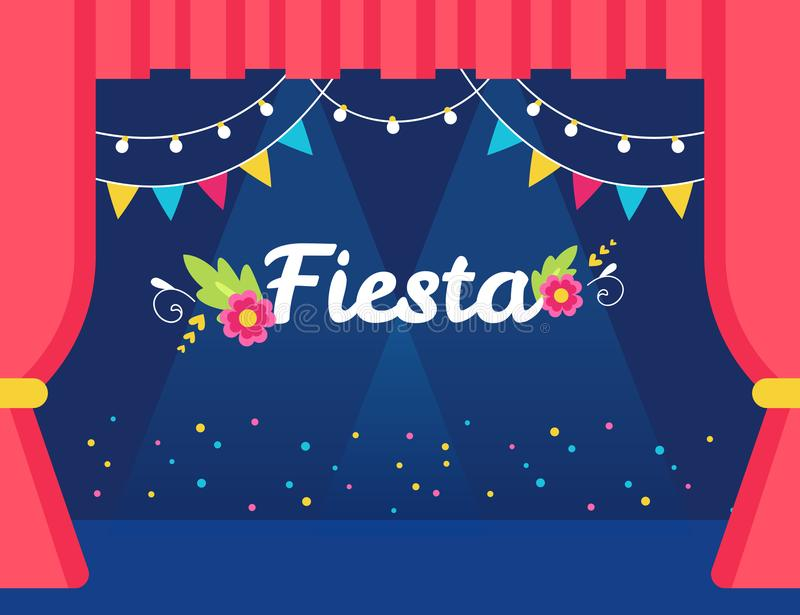 Stage with Flags and Lights Garlands and Fiesta Sign. Mexican Theme Party or Event Invitation. royalty free illustration