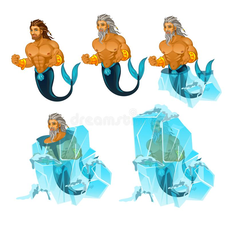 Stage of freezing and thawing of sailor mermaid man isolated on white background. Vector cartoon close-up illustration. Stage of freezing and thawing of sailor stock illustration