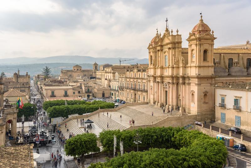 Stage in front of the Cathedral of Noto royalty free stock photo