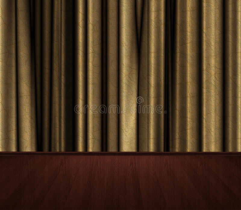 Stage with Gold cutains stock photo