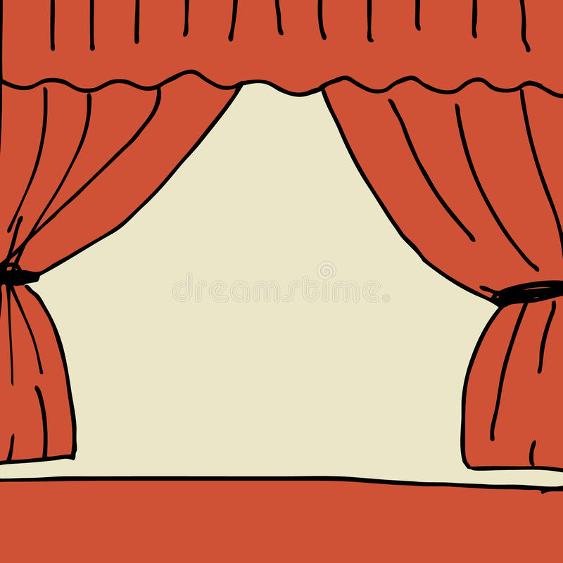 Stage. Illustration of hand drawn stage with curtain vector illustration