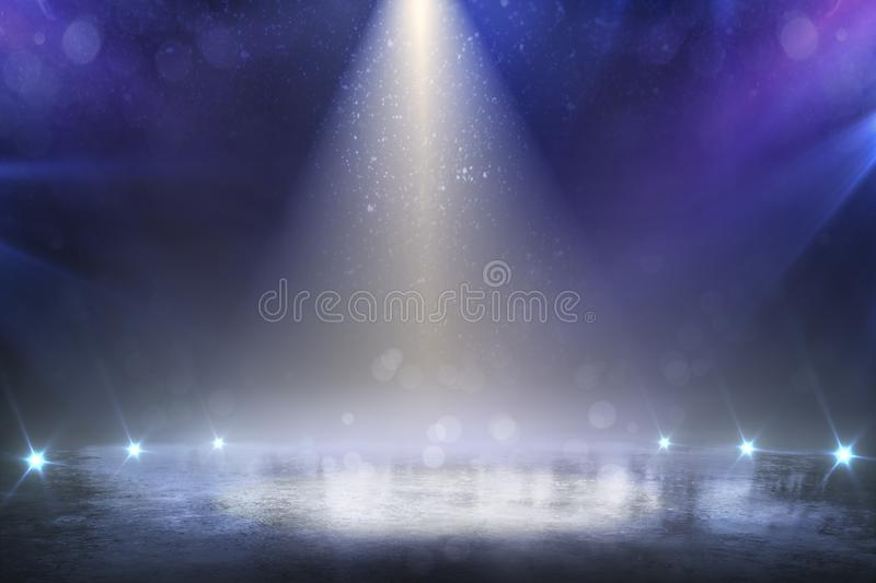 Stage light and glitter lights on floor. Realistic ray. Abstract background for display your product royalty free stock photos