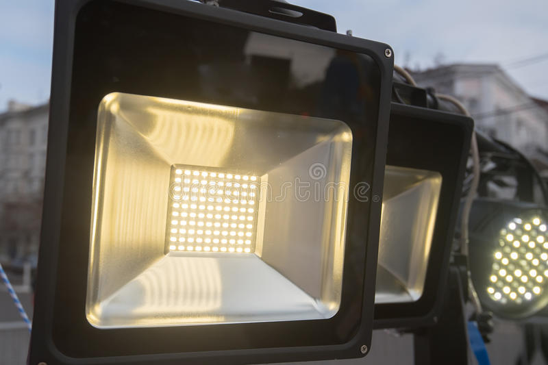 Stage light source. Close up of stage white color light source switched on royalty free stock photos