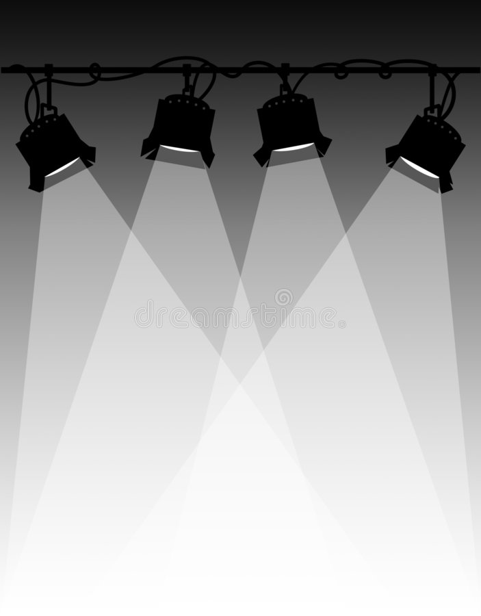 Stage Lighting/eps. Illustration of klieg lights, such as those used on a stage play or movie set...eps file available