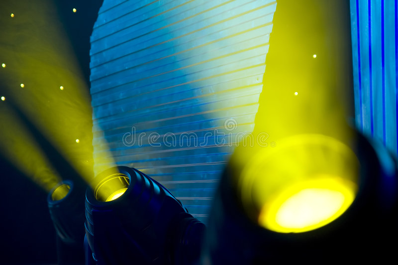 Stage lights. Stage blue and green lights - prepared for production and shooting - Light and smoke stock photography