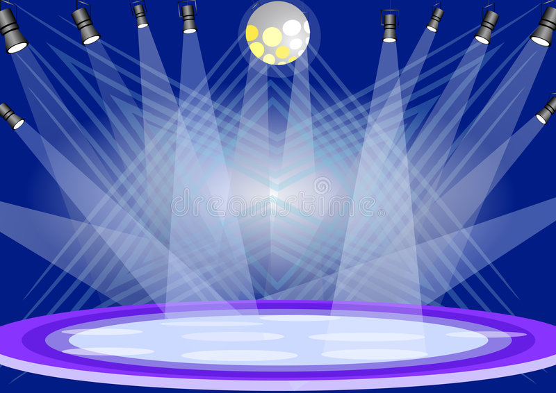 Stage lights. Illustration of stage lights with blue background
