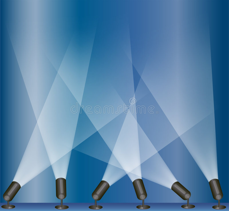 Stage lights. Illustration of spot lights used on a stage play