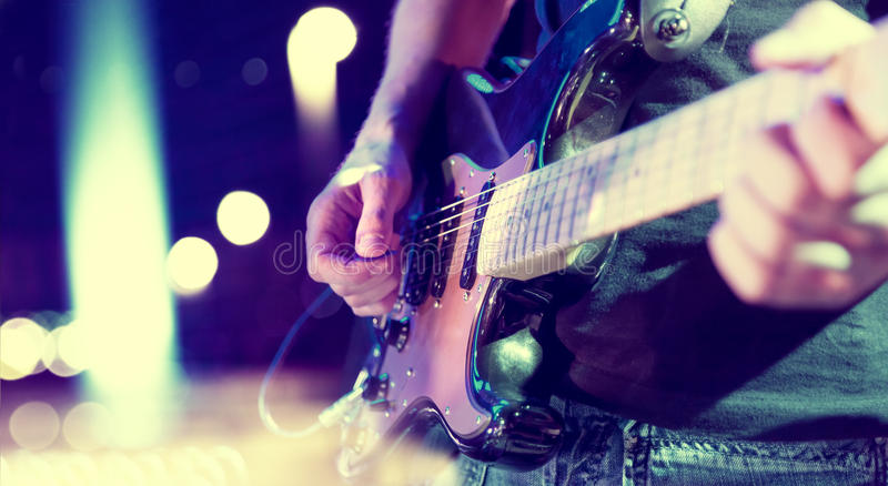 Stage lights.Abstract musical background.Playing song and concert concept. Live music background.Concert and music festival.Instrument on stage and band stock image