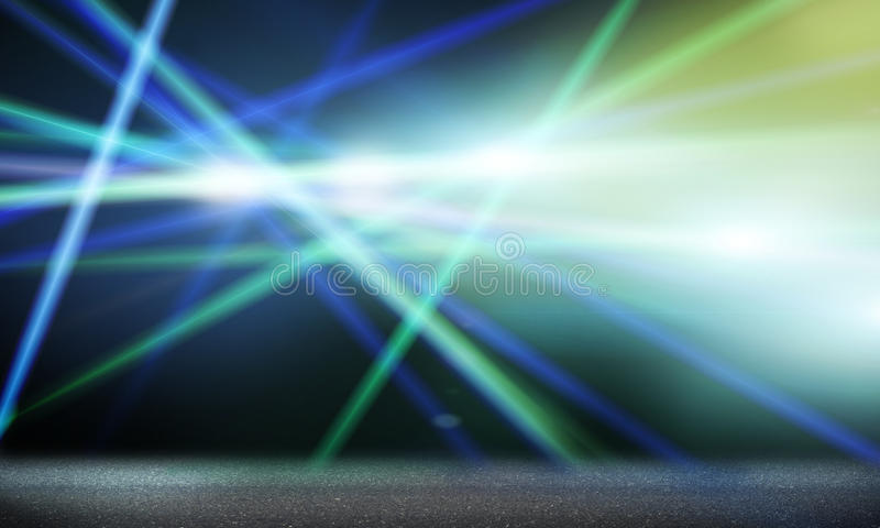 Stage lights. Background image with stage blurred lights and beams royalty free stock photo