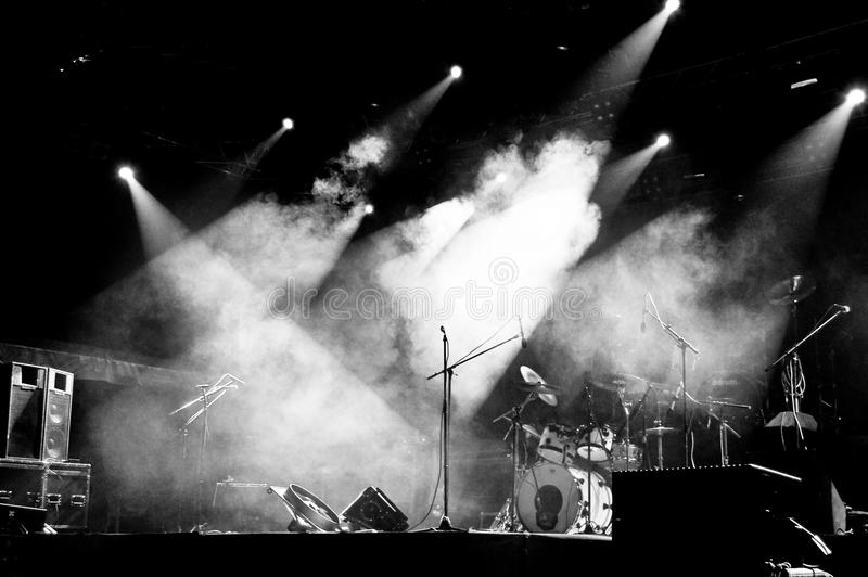 Stage in Lights - Black and White stock photo