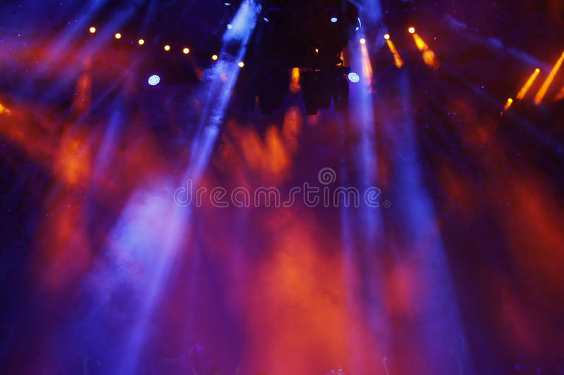 Stage lights. Colorful background of stage lights royalty free stock photo