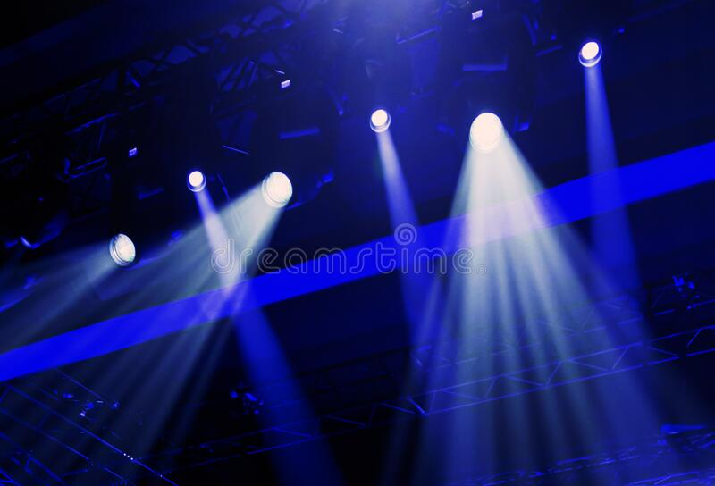 Stage lights during an event. live concert and events. Illuminated stage stock photo