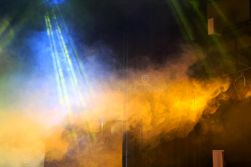 Stage lights and smoke royalty free stock photography