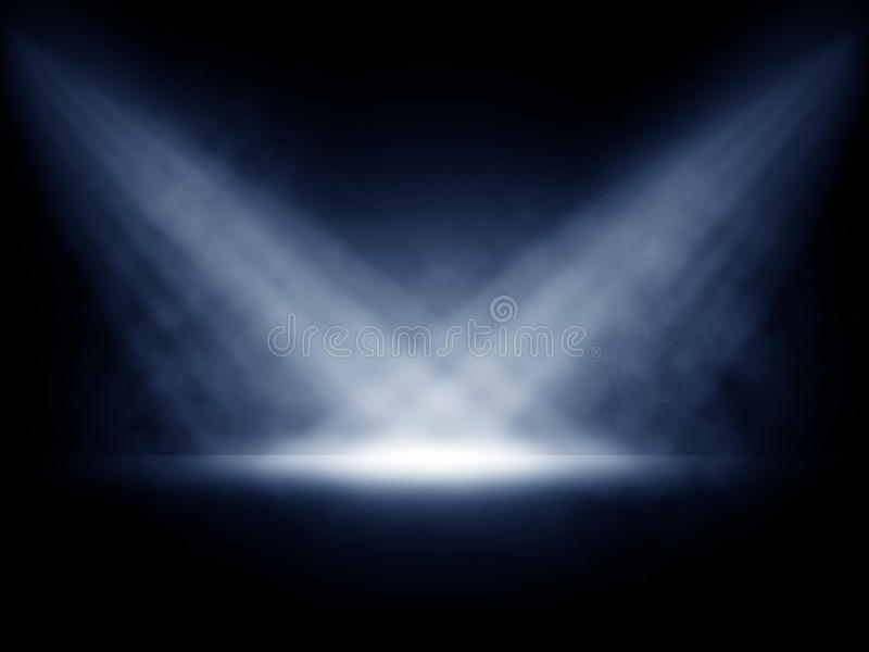 Stage lights with smoky effect stock illustration