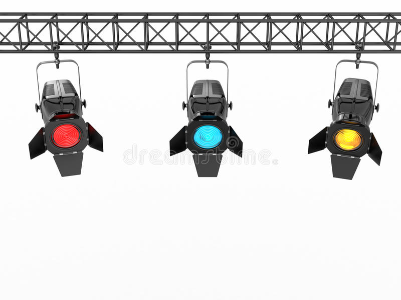 Stage lights on white isolated background vector illustration
