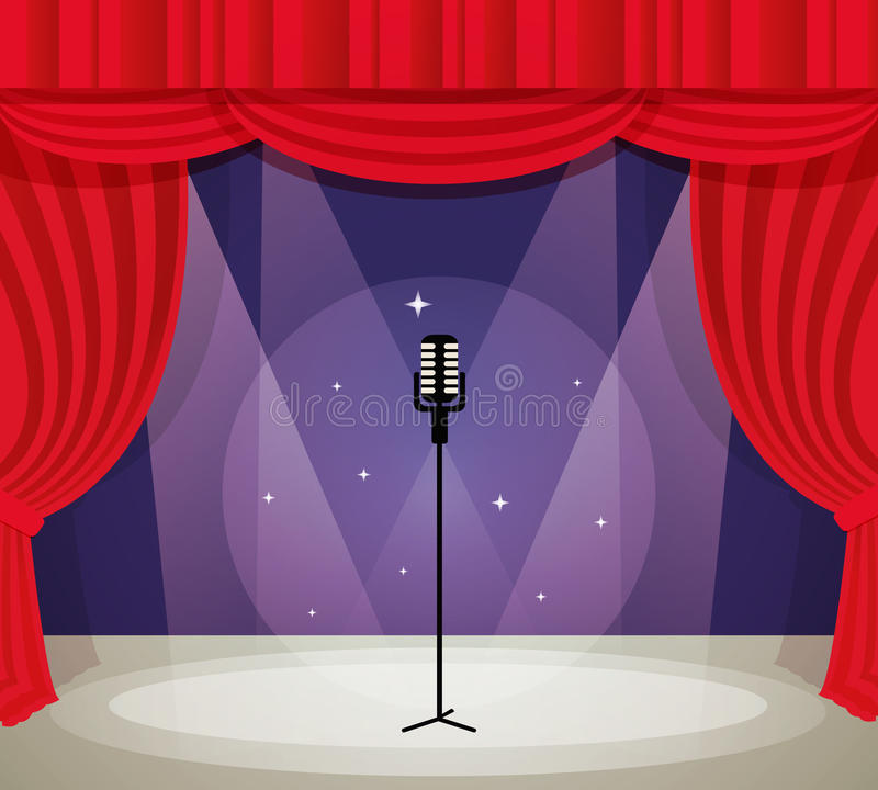 Stage with microphone. In spotlight with red curtain background vector illustration royalty free illustration