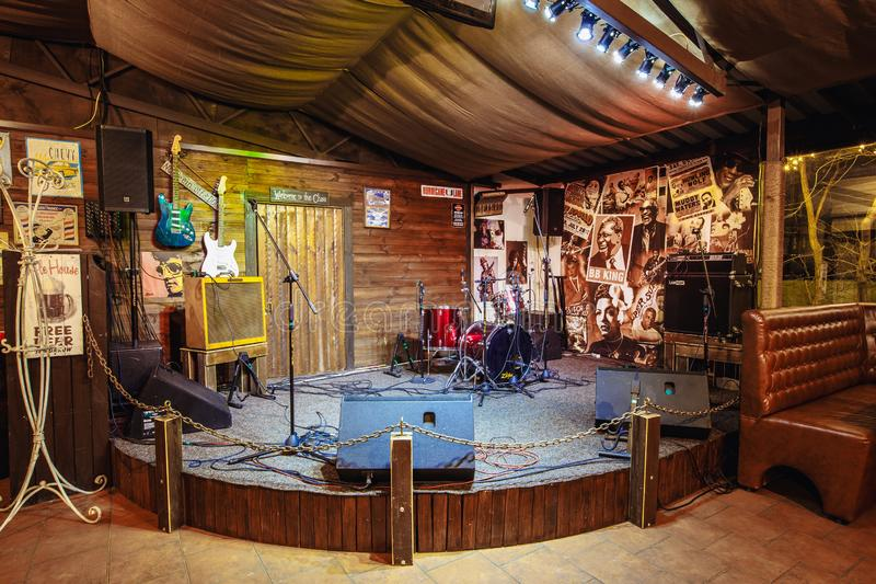 Stage for musicians in a beer pub royalty free stock photos