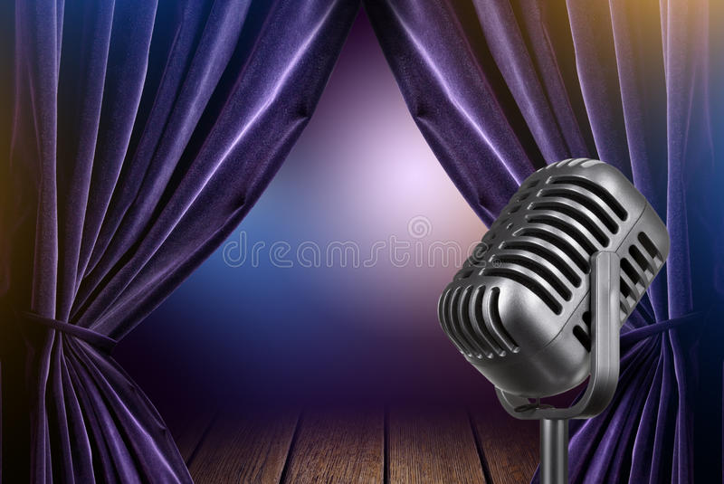 Stage with open curtains and microphone royalty free stock photo