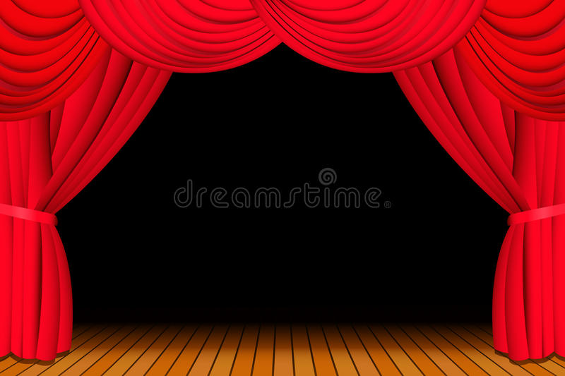 Download Stage With Opened Red Curtain Royalty Free Stock Image - Image: 11768966