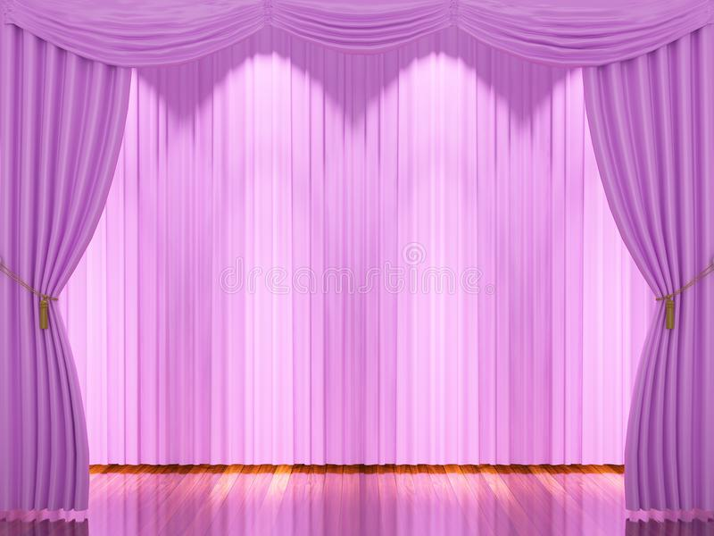 Download Stage With Pink Curtains And Spotlight Stock Image