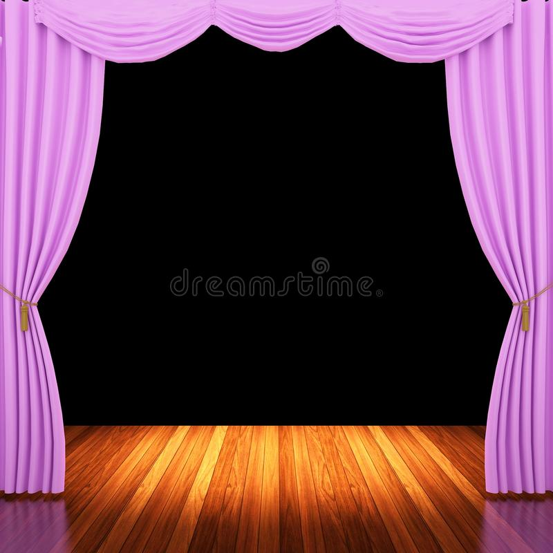 Download Stage With Pink Curtains And Spotlight Stock Photo