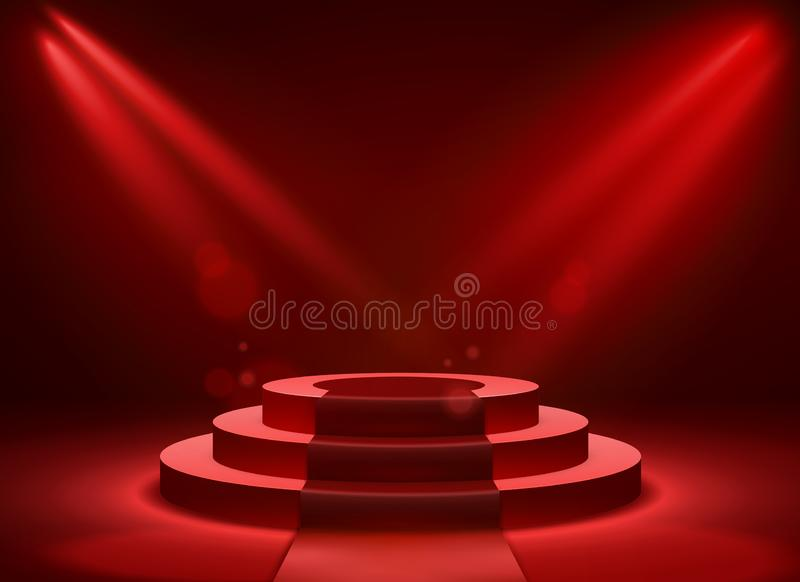 Stage podium lighting. Award ceremony victory pedestal champion, show victory, event celebration winner place vector illustration