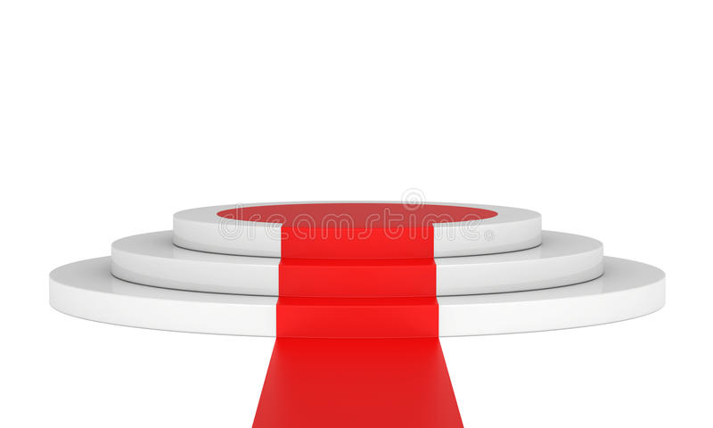 Stage podium with red carpet for award ceremony royalty free illustration