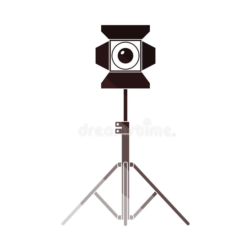 Stage projector icon. Flat color design. Vector illustration stock illustration
